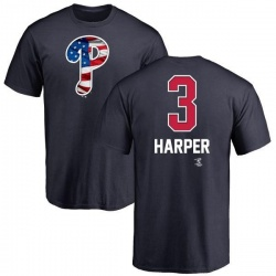 Men's Bryce Harper Philadelphia Phillies Name and Number Banner Wave T-Shirt - Navy