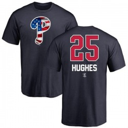 Men's Jared Hughes Philadelphia Phillies Name and Number Banner Wave T-Shirt - Navy
