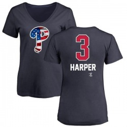 Women's Bryce Harper Philadelphia Phillies Name and Number Banner Wave V-Neck T-Shirt - Navy