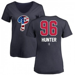 Women's Tommy Hunter Philadelphia Phillies Name and Number Banner Wave V-Neck T-Shirt - Navy